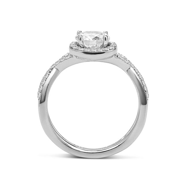 Fana Twist Shank Halo Engagement Ring