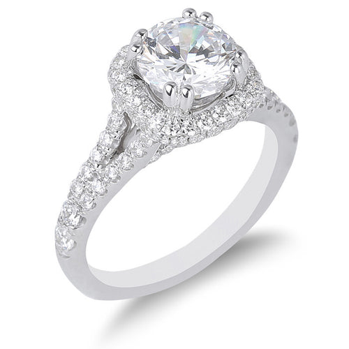 Fana Cushion Halo Split Shank Engagement Ring