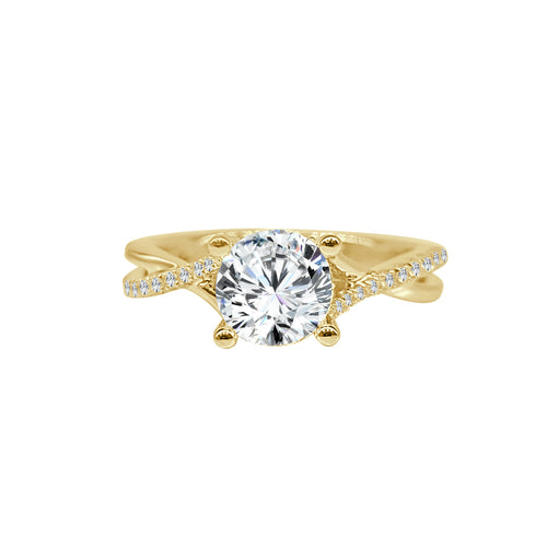 Fana Twist Diamond Solitaire Ring In Yellow Gold