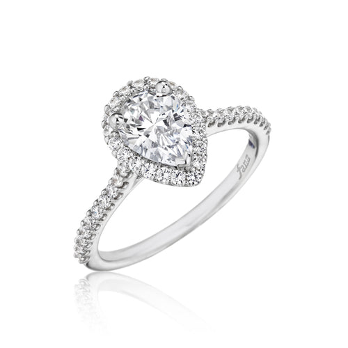 Fana Pear Shaped Halo Engagement Ring