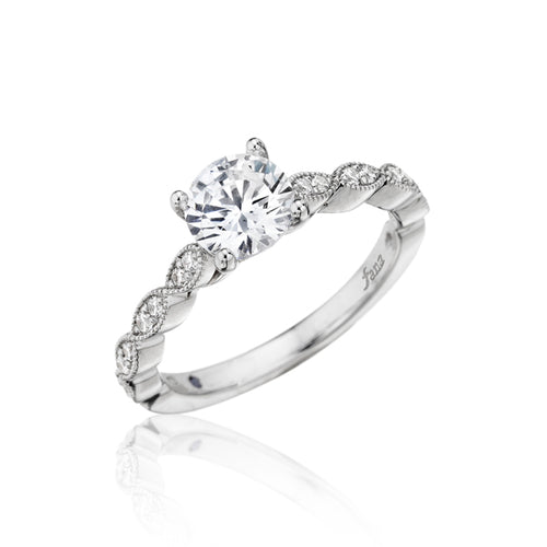Fana Milgrain Scalloped Engagement Ring