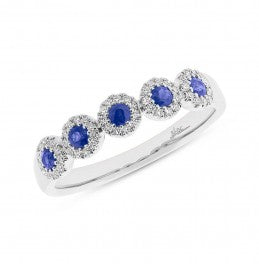Sapphire With Diamond Halo Ring