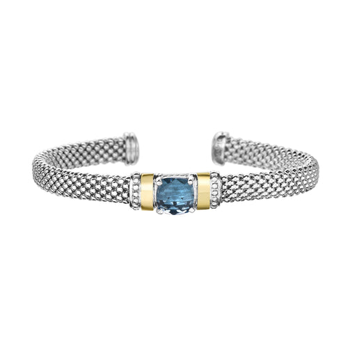Blue Topaz Popcorn Mesh Bangle