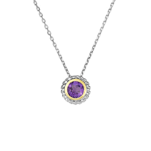 Round Amethyst Two Tone Necklace