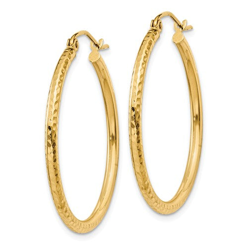 Diamond Cut 2mm Round Tube Hoop Earrings