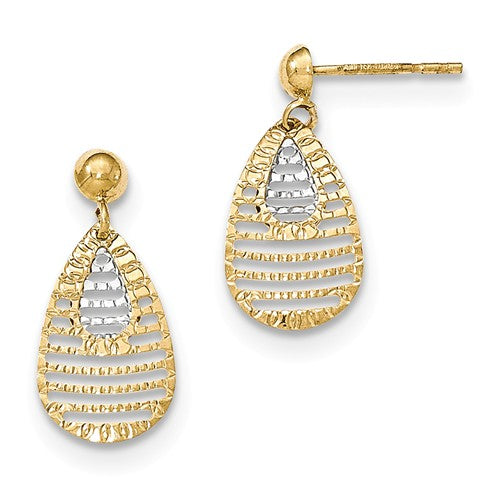Two-tone Textured And Polished Teardrop Post Earrings