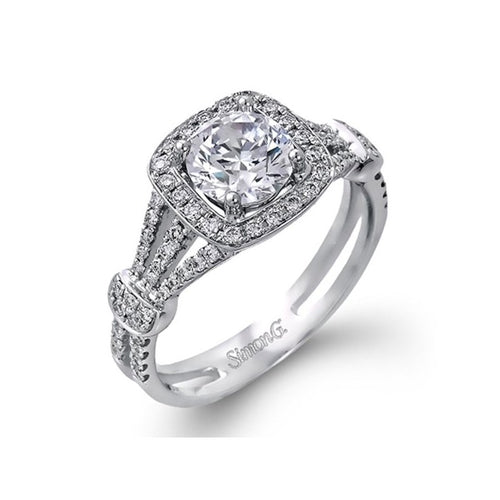 Simon G. Passion Colle Caration Triple Split Shank Halo Engagement Ring