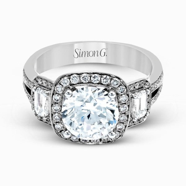 Simon G. Simon G Halo Ring With Emerald Cut Side Stones