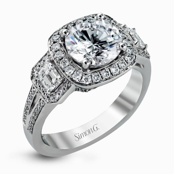 Simon G. Halo Ring With Emerald Cut Side Stones