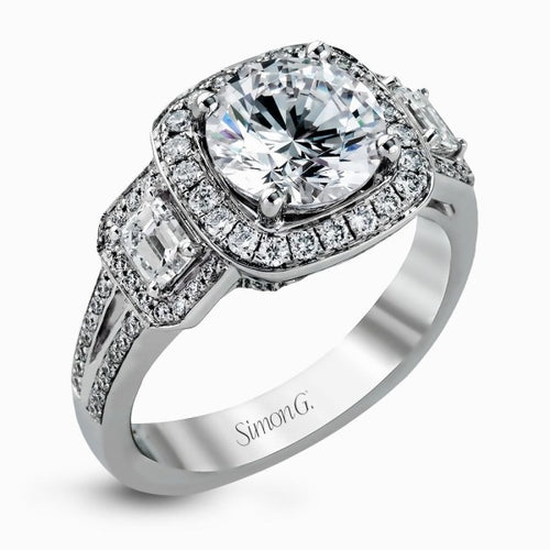 Simon G Halo Ring With Emerald Cut Side Stones