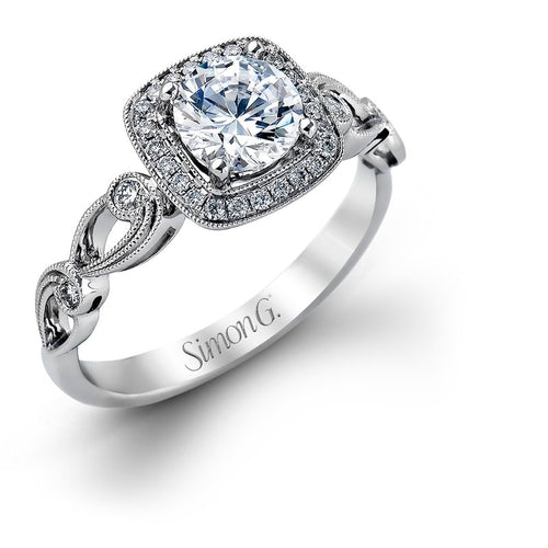 Simon G. Passion Colle Caration Scroll Style Diamond Halo Engagement Ring