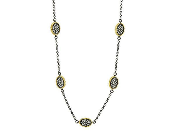 Freida Rothman Signature Pave Oval Station Necklace