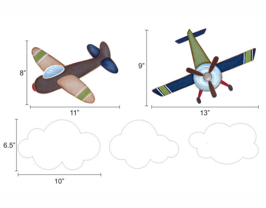 Airplane & Clouds Wall Decals