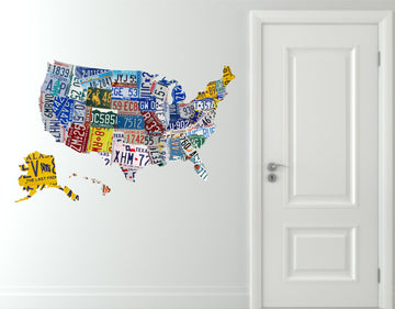 USA License Plate Map Decal