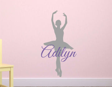 Ballerina & Name Wall Decal