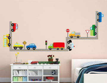 Kids Room Cars and Road Wall Decals Reusable