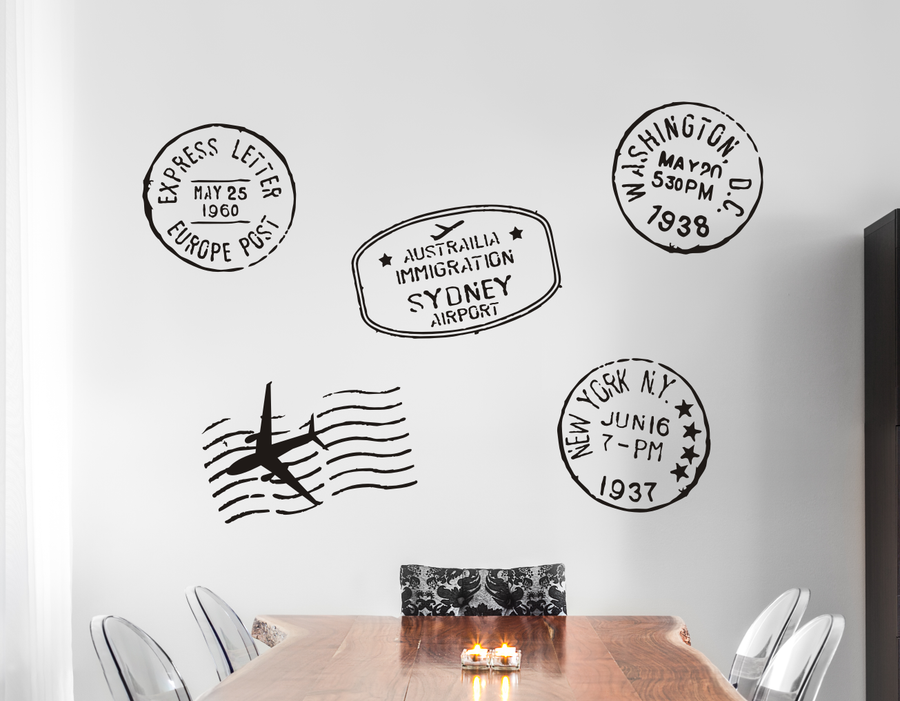 Travel Stamps Wall Decals Set