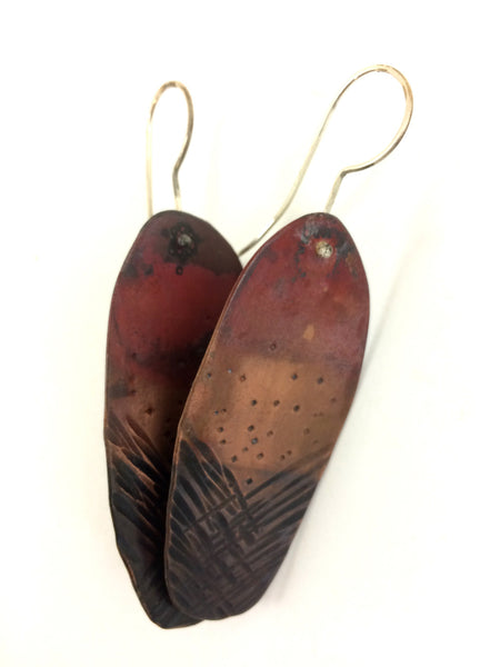 "Copper ""Feather"" Earrings"