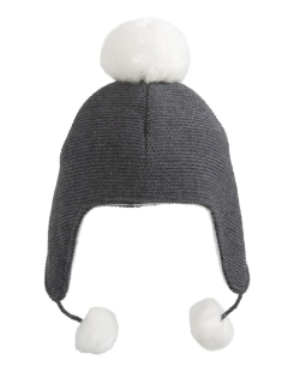 Tuque aviateur pompoms 0-12 mois - Hibox-Mini