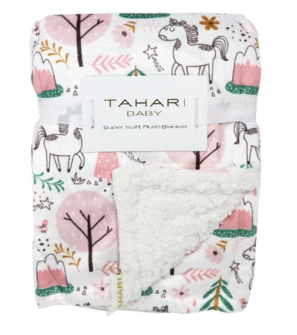 Couverture floral licorne minky