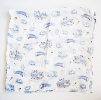 Couverture/Doudou mousseline Licorne - Loulou lollipop - Hibox-Mini