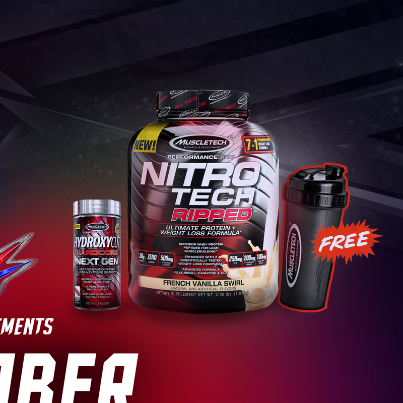 NitroTech Ripped 4lbs + Hydroxycut promo FREE Shaker