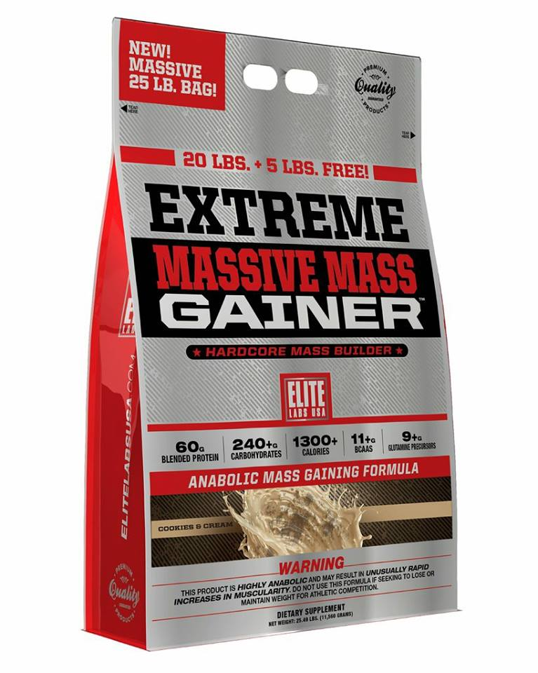 Elite Labs USA Extreme Massive Mass Gainer 25 lbs FREE Elite Labs USA shaker