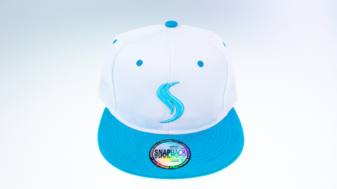 Shatterizer White Hat with Teal Blue Accents, Solid Teal Blue Bill