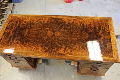 Top side view of my walnut burl desk