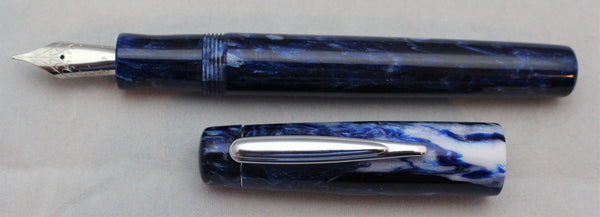 Navy and White Alumilite Custom Fountain Pen
