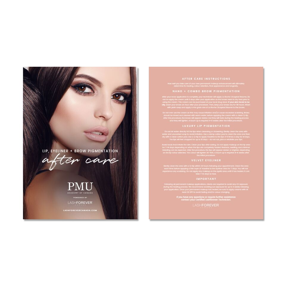 All-in-One Permanent Makeup & Microblading – After Care Postcard
