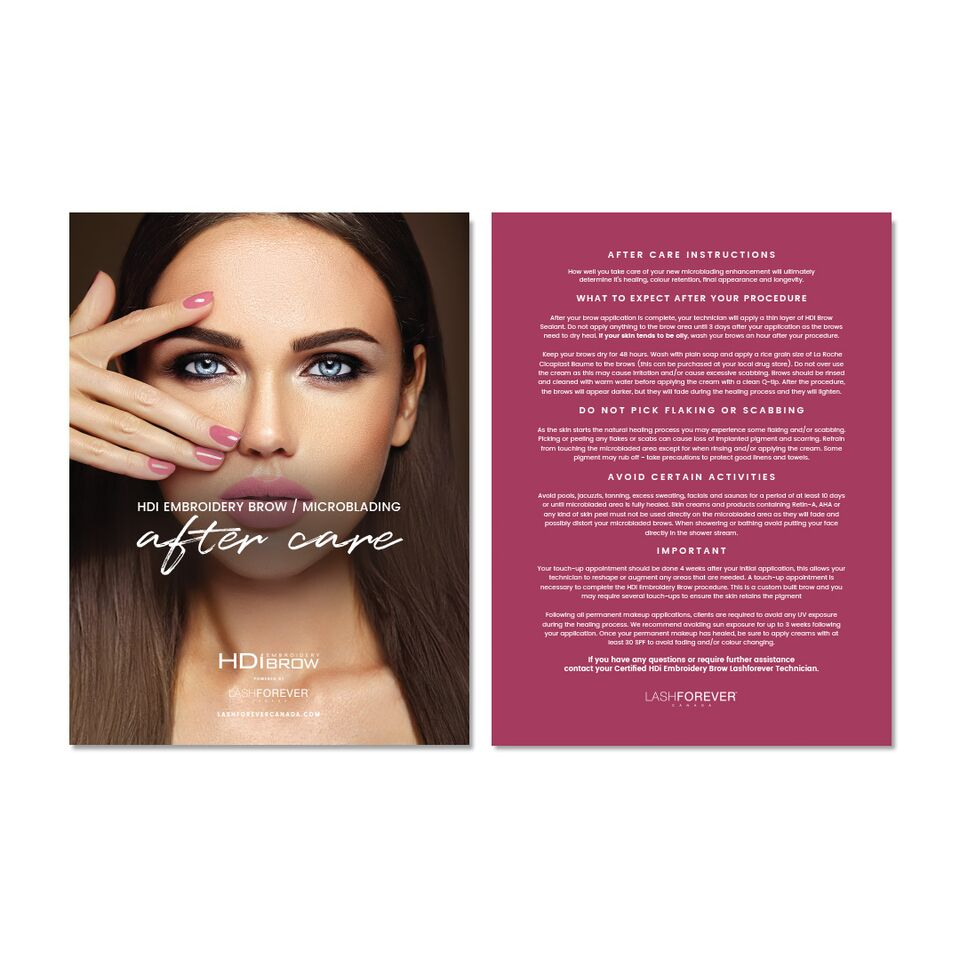 HDi Brow Microblading – After Care Postcard