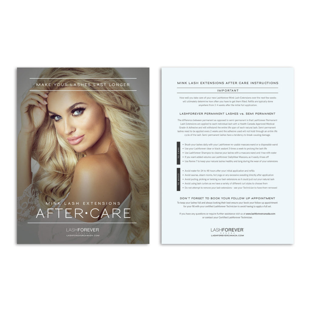 Lash Extensions – After Care Postcard