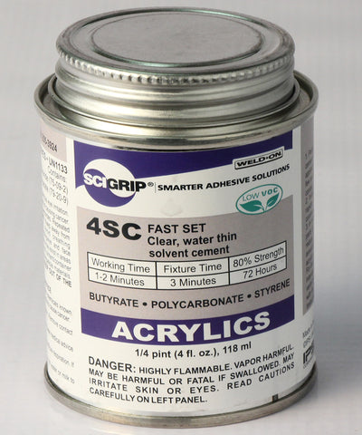 4SC FAST SET Clear, water thin solvent cement.