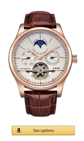 LIGE watch with moon phases, brown leather for women and men