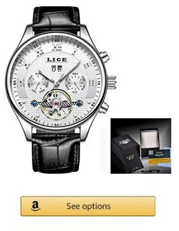 LIGE Watches Men's Automatic Machinery Business Waterproof, Luxury Casual Silver, White, black Leather