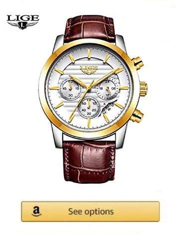 LIGE watch for men, Luxury Brand, Leather Gold White Quartz, Wristwatch Military Waterproof