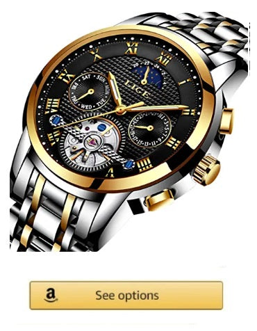 lige Men Watch, Brand Luxury Business Automatic Tourbillon Watch Men's Stainless Steel Waterproof