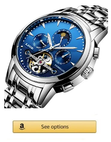 New Mens Watches LIGE silver luxury, Automatic Mechanical Waterproof Full Steel, blue dial