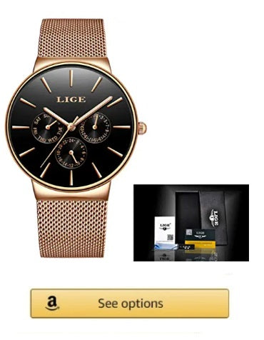 LIGE Mens AND WOMEN Watches Top Luxury Brand Full Steel Quartz  Waterproof  (Rose Gold Black)