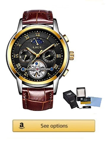 LIGE Brand Watch coffe Men Top Luxury Automatic moon Mechanical, Leather Gold Black