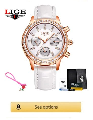 Womens Watches Lige white, luxury brand Girl Casual Leather, quartz, dress diamond