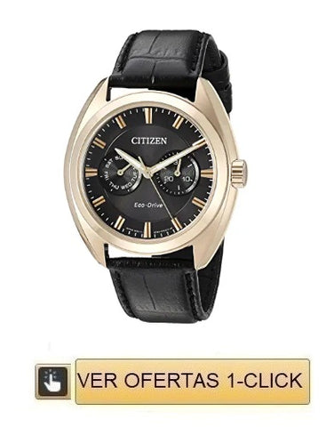 Reloj citizen dorado quartz multifunción color cafe correa de piel