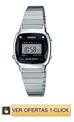 Casio retro mini con diamantes plateado naturales