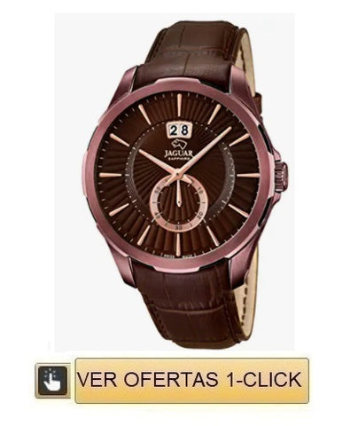 Reloj jaguar color cafe en cuero