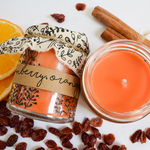 Hand Poured Candle 'Cranberry, Orange & Cinnamon' by Anna Palamar Designs