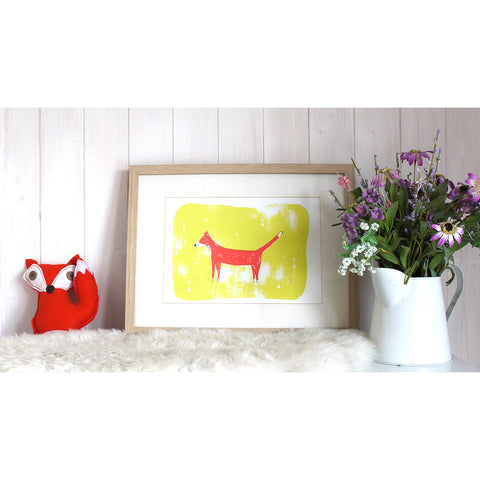 Red Fox Screen Print by Joanna Prints