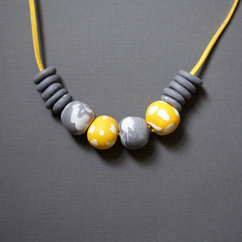 Yellow and Grey Necklace