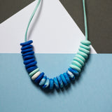 Festival Beads Necklace - Blue and Mint Green