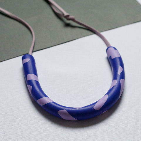 Curved Blue and Lilac Necklace